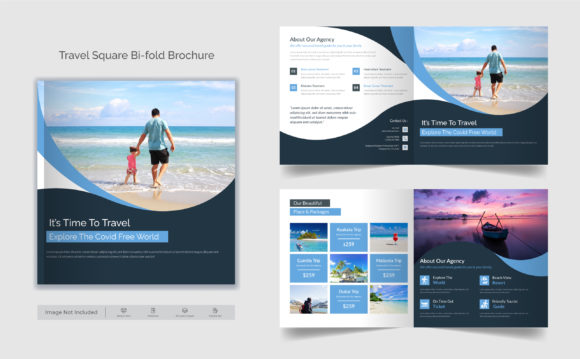 Travel Business Square Bifold Brochure Graphic Print Templates By GraphicHut