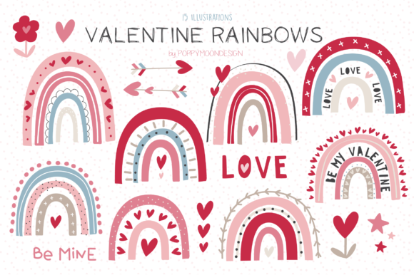 Print on Demand: Valentine Rainbows Clipart Set Graphic Illustrations By poppymoondesign