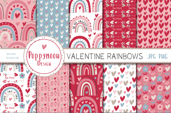 Print on Demand: Valentine Rainbows Paper Set Graphic Patterns By poppymoondesign
