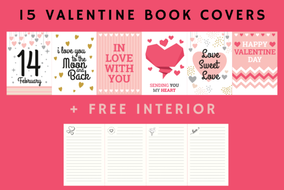 Print on Demand: Valentines Day Book Cover - 15 Designs Graphic KDP Interiors By Papeterie Bleu