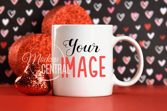 Valentine's Day Coffee Glass Cup Mockup Grafik Produktmodelle von Mockup Central