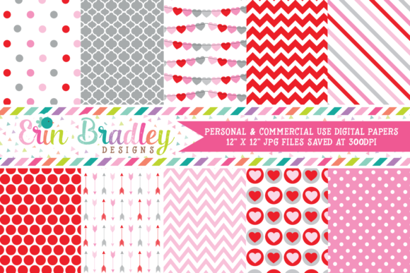 Print on Demand: Valentines Day Digital Papers Graphic Backgrounds By Erin Bradley Designs