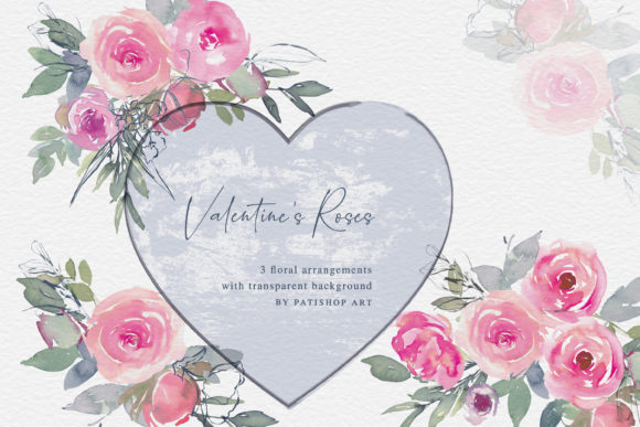Valentine's Roses Watercolor Clipart Graphic Illustrations By Patishop Art