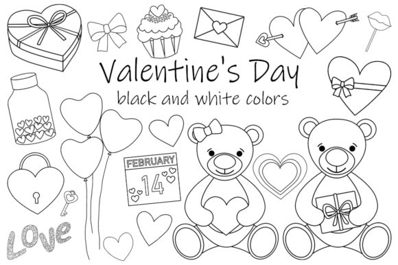 Valentine's Day Black and White Coloring Graphic Illustrations By shishkovaiv