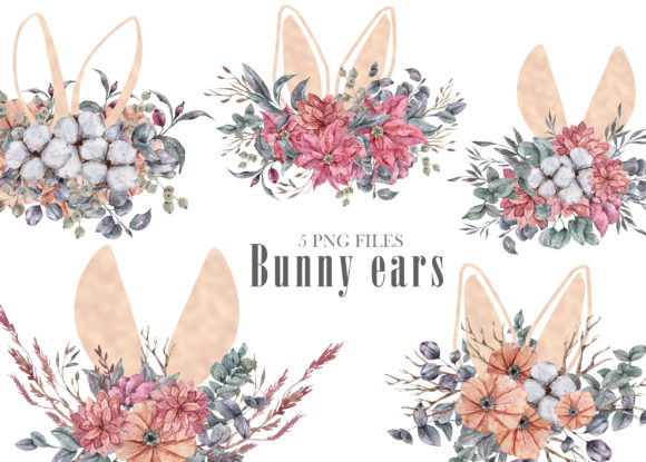 Print on Demand: Watercolor Easter Bunny Ears Clipart Grafik Illustrationen von Tiana Geo