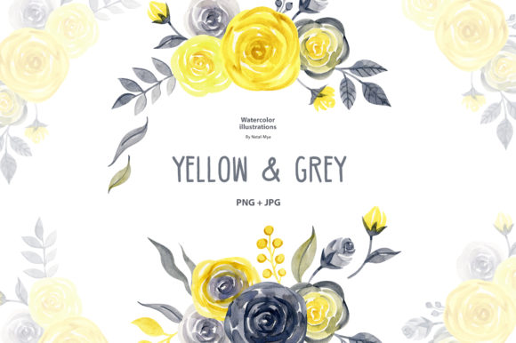 Watercolor Yellow & Gray Roses Graphic Illustrations By NataliMyaStore