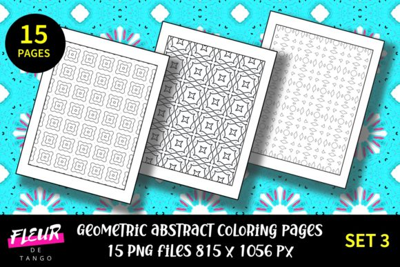 Print on Demand: 15 Abstract Pattern Coloring Pages Set 3 Graphic Coloring Pages & Books Adults By Fleur de Tango