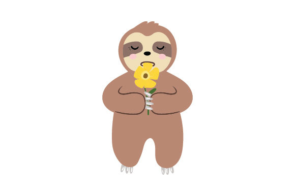 Baby Sloth Eating Flower Animals Craft Cut File By Creative Fabrica Crafts