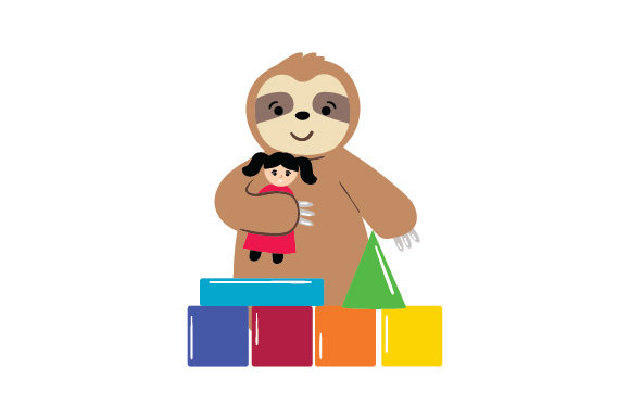 Sloth Playing Baby Craft Cut File By Creative Fabrica Crafts