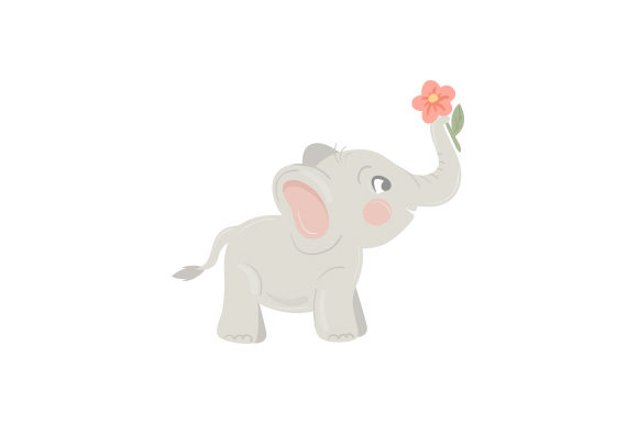 Baby Elephant with Flowers Animals Craft Cut File By Creative Fabrica Crafts