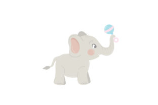 Baby Elephant with Toys Baby Craft Cut File By Creative Fabrica Crafts