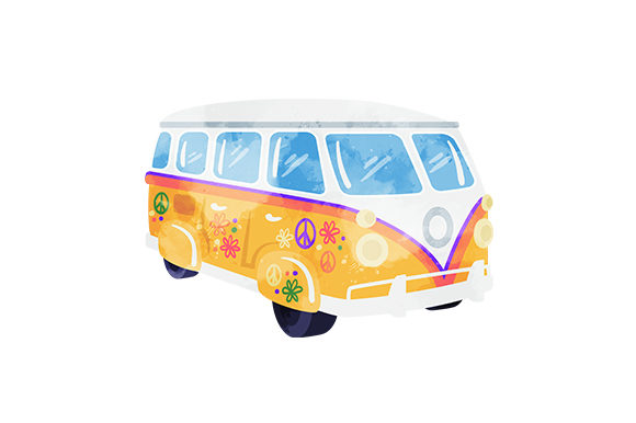 Hippy Camper Van Autos Plotterdatei von Creative Fabrica Crafts