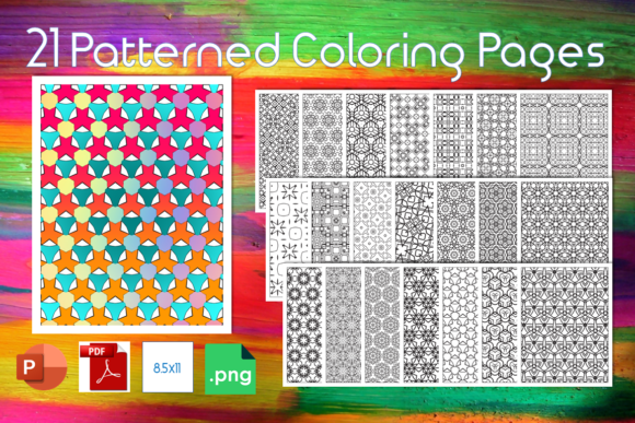 21 Patterned Coloring Pages Graphic KDP Interiors By Rob O'Brien