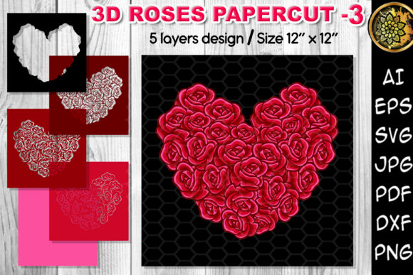 Print on Demand: 3D Valentine Heart Rose Flowers SVG –3 Grafik 3D SVG von V-Design Creator