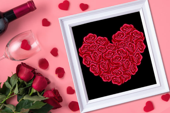 3D Valentine Heart Rose Flowers SVG –3 Graphic Item