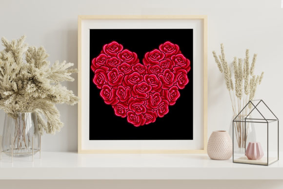 3D Valentine Heart Rose Flowers SVG –3 Graphic Image