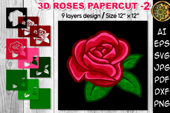 Print on Demand: 3D Valentine Rose Flowers Clipart –2 Graphic 3D SVG By V-Design Creator