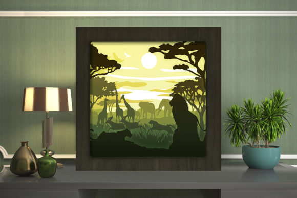 Print on Demand: Africa Square Light Box Shadow Box Graphic 3D Shadow Box By LightBoxGoodMan