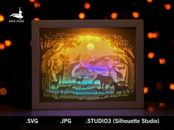African Paper Cut Light Box Template 3D Grafik 3D Schattenbox von Deer store