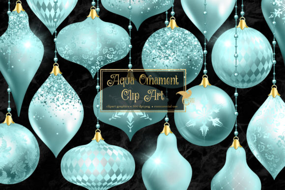 Print on Demand: Aqua Christmas Ornaments Clipart Graphic Illustrations By Digital Curio