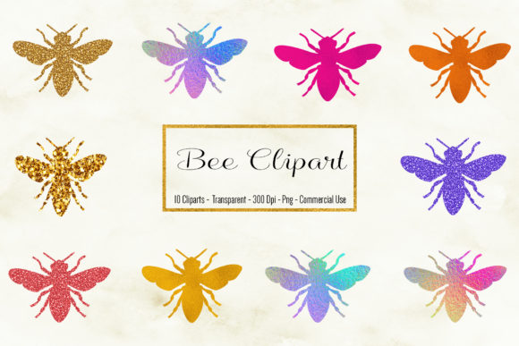 Bee Clipart, Bee Illustration Graphic Objects By BonaDesigns