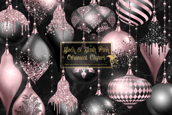 Print on Demand: Black and Blush Pink Ornament Clipart Graphic Illustrations By Digital Curio