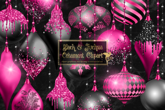 Print on Demand: Black and Fuchsia Ornament Clipart Graphic Illustrations By Digital Curio