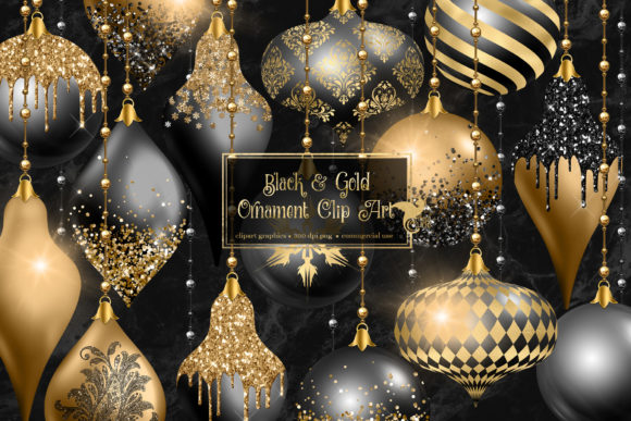 Print on Demand: Black and Gold Christmas Ornament Clipar Graphic Illustrations By Digital Curio