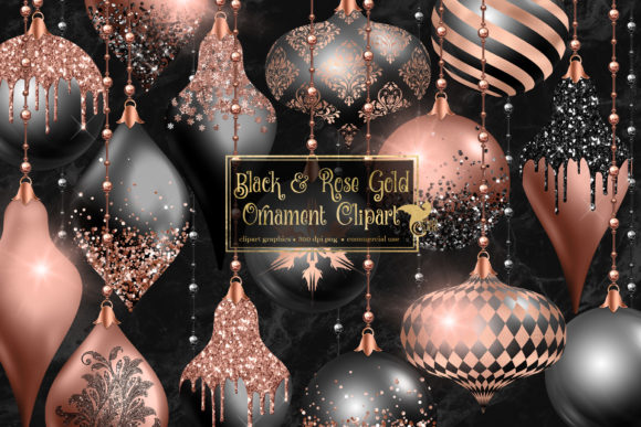 Print on Demand: Black and Rose Gold Ornament Clipart Graphic Illustrations By Digital Curio