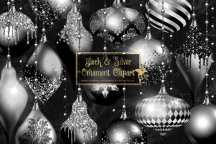 Print on Demand: Black and Silver Christmas Ornaments Graphic Illustrations By Digital Curio