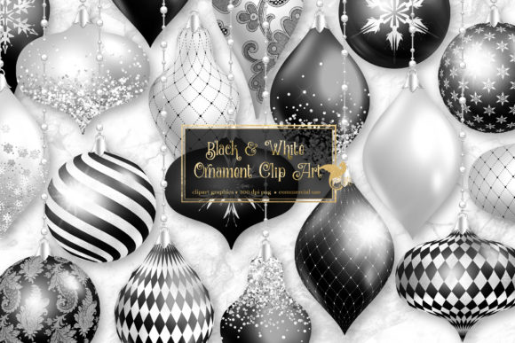 Print on Demand: Black and White Christmas Ornaments Graphic Illustrations By Digital Curio