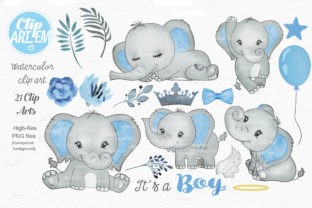 Print on Demand: Blue Boy Elephant Bundle 21 PNGs Files Graphic Illustrations By clipArtem