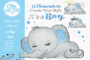 Print on Demand: Blue Boy Elephant Bundle 21 PNGs Files Graphic Illustrations By clipArtem 2