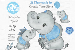 Print on Demand: Blue Boy Elephant Bundle 21 PNGs Files Graphic Illustrations By clipArtem 3
