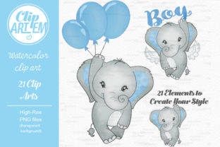 Print on Demand: Blue Boy Elephant Bundle 21 PNGs Files Graphic Illustrations By clipArtem 4