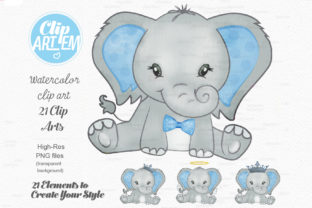 Print on Demand: Blue Boy Elephant Bundle 21 PNGs Files Graphic Illustrations By clipArtem 5