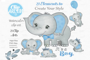 Print on Demand: Blue Boy Elephant Bundle 21 PNGs Files Graphic Illustrations By clipArtem 6