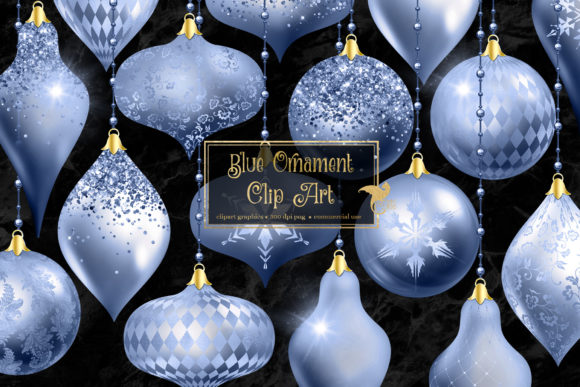 Print on Demand: Blue Christmas Ornaments Clipart Graphic Illustrations By Digital Curio