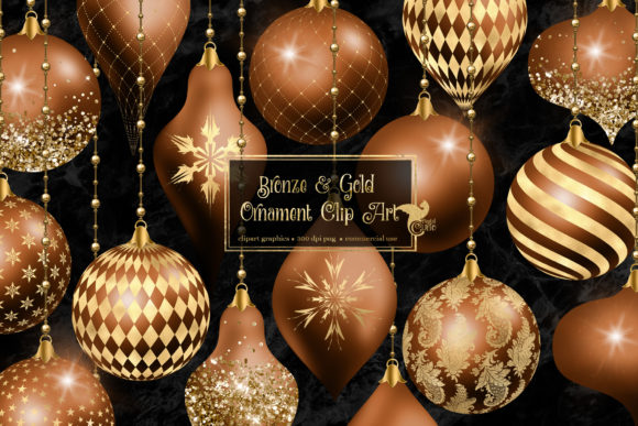 Print on Demand: Bronze and Gold Christmas Ornaments Graphic Illustrations By Digital Curio