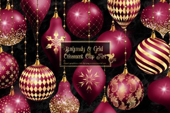 Print on Demand: Burgundy and Gold Christmas Ornaments Graphic Illustrations By Digital Curio