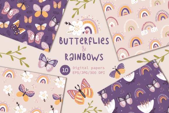 Print on Demand: Butterflies & Rainbows, Floral Paper. Graphic Patterns By FindsArtDesign