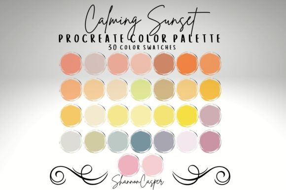 Print on Demand: Calming Sunset Procreate Color Palette Graphic Actions & Presets By Shannon Casper