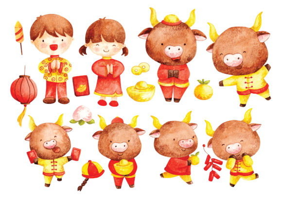 Chinese New Year of of Watercolor Style Graphic Illustrations By Big Barn Doodles