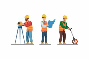 Print on Demand: Construction Worker Icon Set Vector Graphic Illustrations By aryo.hadi