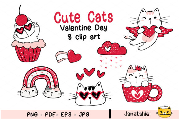 Cute Valentine Cat Animal Clipart Set Graphic Illustrations By Janatshie