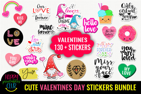 Cute Valentines Day Stickers Bundle Graphic Crafts By Happy Printables Club