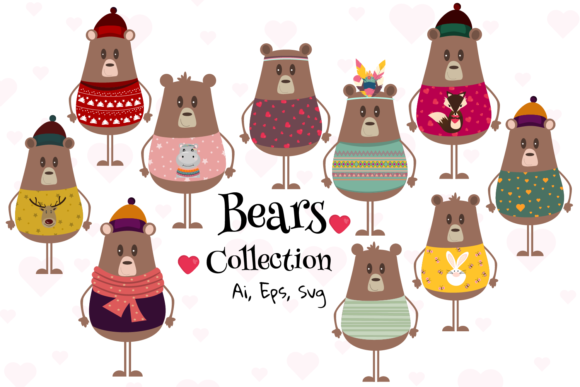 Cute Bear Svg Graphic, Bear Clipart Graphic Illustrations By Igraphic Studio
