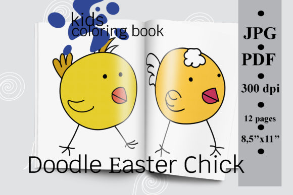 Doodle Easter Chick Kids Coloring Book Graphic Coloring Pages & Books Kids By SunnyColoring