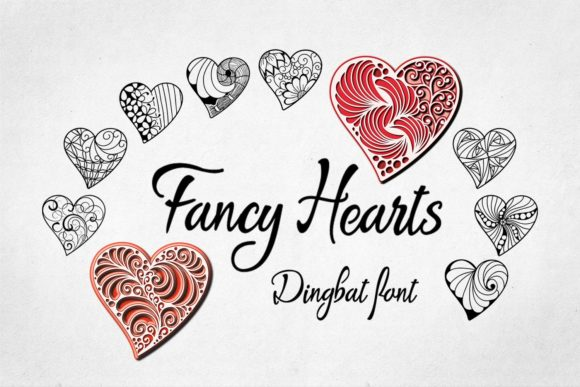 Print on Demand: Fancy Hearts Dingbats Font By Eva Barabasne Olasz