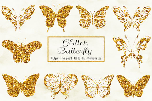 Glitter Butterfly Clipart Graphic Objects By BonaDesigns